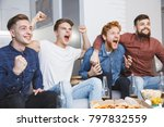 men watching sport on tv... | Shutterstock . vector #797832559