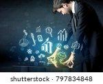 man touching technology smart... | Shutterstock . vector #797834848