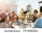 group of young friends hanging... | Shutterstock . vector #797838304