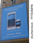 Small photo of Rome, Italy - August 11, 2017: Mediolanum Bank advertisement of Apple Pay, mobile payment and digital wallet service by Apple that lets users make payments using an iPhone, Apple Watch, iPad or Mac