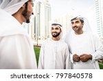 three arabic men bonding... | Shutterstock . vector #797840578