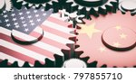 china and usa relations concept.... | Shutterstock . vector #797855710