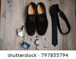 stylish suede men's shoes ... | Shutterstock . vector #797855794