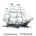 tall sailing ship. watercolor... | Shutterstock . vector #797856256
