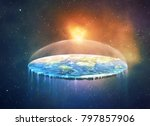 a flattened earth in space.... | Shutterstock . vector #797857906