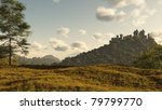 Distant Medieval or fantasy castle on a wooded hill, 3d digitally rendered illustration - stock photo