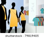 window in fashion dress market... | Shutterstock .eps vector #79819405