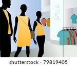 window in fashion dress market...   Shutterstock .eps vector #79819405