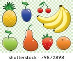 vector set of colorful fruits | Shutterstock .eps vector #79872898