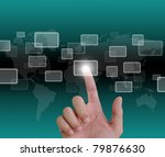 hand pushing a button on a... | Shutterstock . vector #79876630