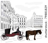 Horse Carriage At City