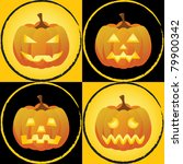 pumpkins with different facial... | Shutterstock . vector #79900342