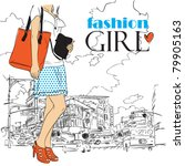 fashion girl in sketch style on ... | Shutterstock .eps vector #79905163