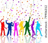 happy party people silhouettes  ... | Shutterstock .eps vector #79906312
