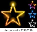 vector   glowing neon stars set ...