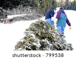 christmas tree   husband and... | Shutterstock . vector #799538