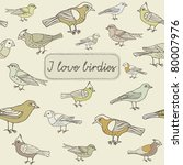 vintage card with birds | Shutterstock .eps vector #80007976