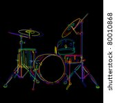 stylized drum kit graphic over... | Shutterstock .eps vector #80010868