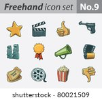 freehand icon set   movie
