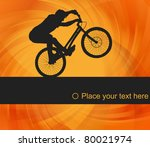 Animated mountain bike trial rider background illustration - stock vector
