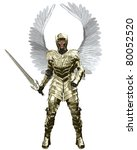 The Archangel Michael in golden armour carrying a sword, 3d digitally rendered illustration - stock photo