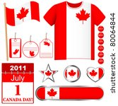 canada day. set of icons and... | Shutterstock .eps vector #80064844