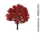 Autumn Tree With Red Foliage...
