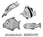 cartoon vector grayscale... | Shutterstock .eps vector #80081455