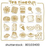 hand drawn teatime icons | Shutterstock .eps vector #80103400