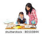 mom helping daughter with... | Shutterstock . vector #80103844