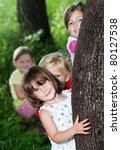 Happy Children Hideing Behind...