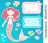 set of mermaid and design... | Shutterstock .eps vector #80143573