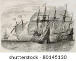Old Illustration Of Sea Battle...
