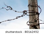A View Of Rusty Barbed Wire...