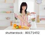 lovely brunette woman using a... | Shutterstock . vector #80171452
