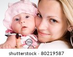 portrait of a mom with her baby | Shutterstock . vector #80219587