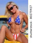 patriotic bikini babe in...