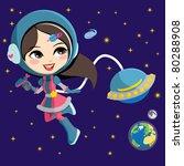pretty astronaut fashion girl... | Shutterstock .eps vector #80288908