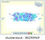 puerto rico state map with...   Shutterstock .eps vector #80290969