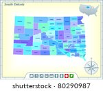 south dakota state map with...   Shutterstock .eps vector #80290987