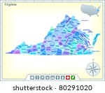 virginia state map with... | Shutterstock .eps vector #80291020