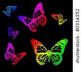 silhouettes of butterflies on a ... | Shutterstock . vector #80316352