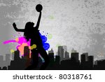 Girl playing volleyball - stock vector
