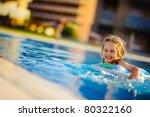 pretty little girl swimming in... | Shutterstock . vector #80322160