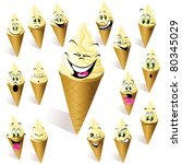 ice cream with many expressions | Shutterstock .eps vector #80345029