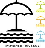 umbrella on the beach   vector | Shutterstock .eps vector #80355331
