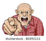 an angry man with shaved head... | Shutterstock .eps vector #80392111