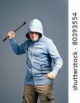 The aggressive bandit with a crowbar - stock photo