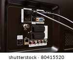 Modern HDMI TV Audio Video input Connection Panel - stock photo