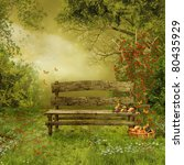 Stock photo old wooden bench in a village orchard 80435929